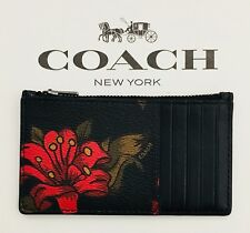 NWT Coach Zip Credit Card Case Hawaii Red Floral Print Wallet F29270 $95
