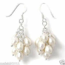White Akoya Cultured Pearl Grape Dangle Earring Silver Hook AAA