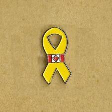 BREAST CANCER YELLOW CANADA FLAG RIBBON PIN