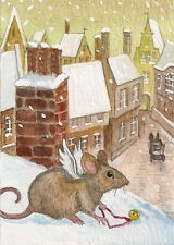 ACEO PRINT OF PAINTING RYTA XMAS MOUSE BELL DICKENS ANGEL CAROL FOLK SANTA SNOW