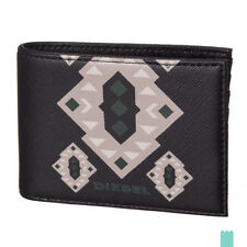 RRP €50 DIESEL NEELA XS P0408 Saffiano Panel Printed Small Bifold Wallet
