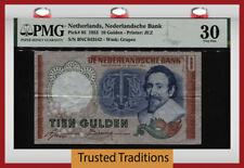 TT PK 85 1953 NETHERLANDS NEDERLANDSCHE BANK 10 GULDEN HUGO DE GROOT PMG 30 VF!