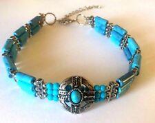 Fashion Jewelry Women Blue Turquoise Beads  Silver Bracelet