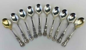 Antique Set 10 GORHAM Buttercup Solid Sterling Silver Dessert Ice Cream Spoons