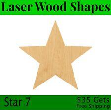 Star 7 Laser Cut Out Wood Shape Craft Supply - Woodcraft Cutout