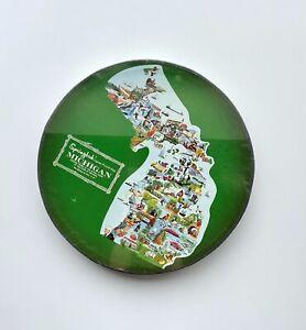 Vintage Springbok - Michigan Contour State Puzzle - Round Box 1969 Complete!