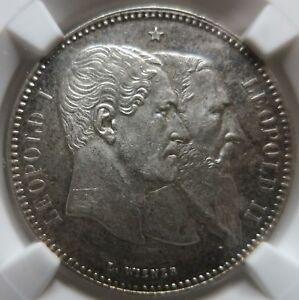 BELGIUM 2 Francs 1880 NGC MS 62 UNC Independence Scarce