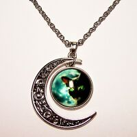 Moon Shaped Necklace w/ Cat Face Cabochon Design New Unique Jewelry Pendant Gift
