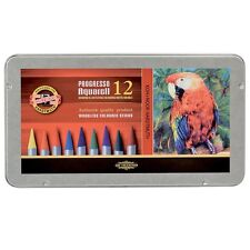 KOH-I-NOOR PROGRESSO AQUARELL WOODLESS WATER SOLUBLE PENCILS - Tin of 12 colours