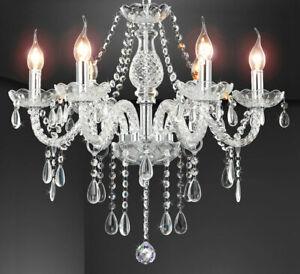 Kristall Glas Kronleuchter Pendel Hänge Lampe Lüster klassisch 6-Arm Ø55 VITROLA