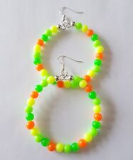 New Handmade 50MM Hoop Round Yellow Green Orange Colour Bright Beaded Earrings