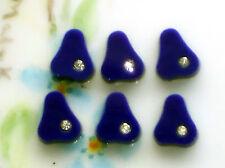#695B Vintage Glass Pears Cobalt Rhinestones Pear Shape Cabochons OLD Fruit Cabs