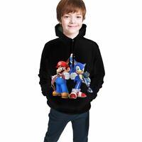 Mario & Sonic Print Kids Sweatshirt Cute Cartoon Children Hoodie Pullover Coat