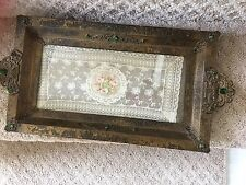 Antique Lrg. Jeweled Perfume Vanity Tray w/ Lace Insert Mint