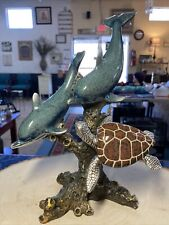 New ListingBeautiful Painted Glazed Ceramic Nautical Sea Turtle & Dolphins Figurine Decor