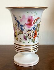 Antique 19th c. English Regency Porcelain Vase Urn Flowers White & Gold Georgian