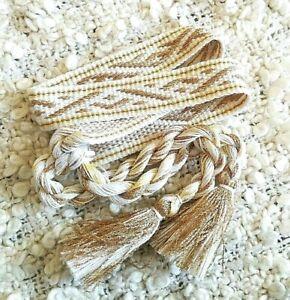Gold wedding headband Gold bridal headwear White & gold headband Ethnic style