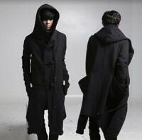 Black Cloak Hooded Punk Outwear Men Gothic Long Trench Coat Jacket Peacoat Parka