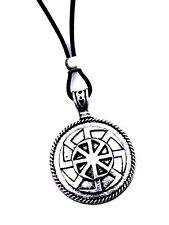 Kolovrat SVAROG Slavic Sun Double Wheel 8 Leg Pendant Amulet Bead Cord Necklace