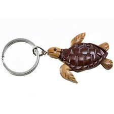 """Wood Intarsia Sea Turtle Keychain Key Ring Handcrafted 2.25"""" Long New!"""