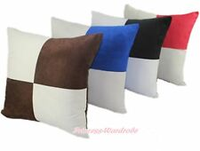 Plaid Two Toned Soft Faux Suede Leather Home Deco Sofa Cushion Cover Pillow Case