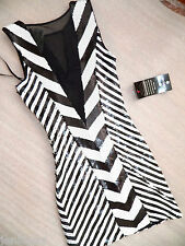 NWT Bebe Dress black white sequin mesh top skirt party club M Medium deep v sexy