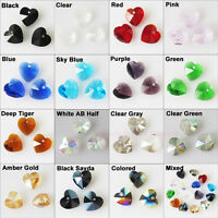 10Pcs Faceted Heart Glass Crystal Rondelle Beads Charms Pendants 10mm