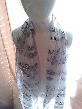 """Music WhiteScarf Singer 60"""" Belt Headband Sash Musician Teacher"""