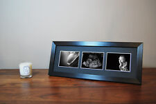 Pregnancy Scan 1st Photo Black Triple Aperture Frame Baby Shower Christmas Gift