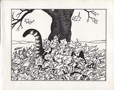 Kliban Cat in Fall Leaves. Vintage 1981 print. 9 x 11