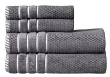 Towel Set 4 PC Set 100% Cotton 600 GSM 2 Bath 2 hand Towels-Silver Excel Hometex