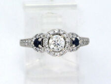 14k White Gold Round 3 Stone Diamond & Sapphire Halo Engagement Ring 1.34ct