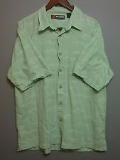 Reel Legends s/s button down XL lt green cotton shirt embroidered fish pattern