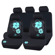 Universal Car Seat Covers Mint Green Flower Fabric Breathable For Sedan SUV 9pcs