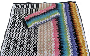 MISSONIHOME HAND + BATH TOWEL SET 100% COTTON  TRIMMED VELOUR RALPH 100