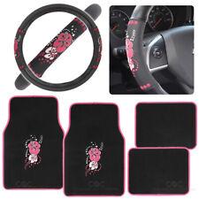 Carpet Floor Mats Steering Wheel Combo Set Hawaii Pink Floral Design Flowers