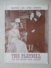 November 24th, 1941 - Martin Beck Theatre Playbill - Watch On The Rhine
