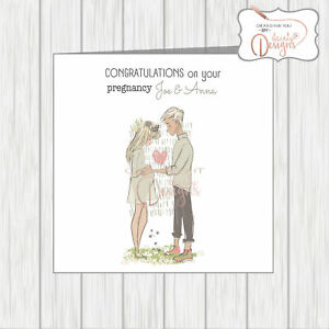 Congratulations You're Pregnant Card Couple Mum & Dad To Be Son Daughter Friend