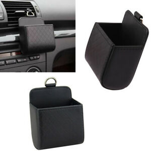 2XFor Cadillac Model Front Centre AirOutlet Organizer Hold Storage PU TRIM Black