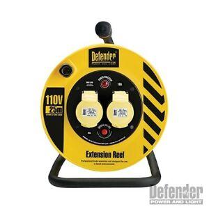 DEFENDER E86450 25M EXTENSION LEAD CABLE REEL 2 GANG SOCKET 1.5MM 16A 110V IP44