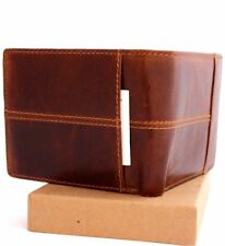 Men's Money Genuine oiled Leather wallet Billfold slim Pockets card coin zipper
