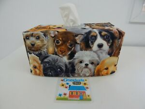 Dog Portraits Tissue Box Cover With Circle Opening - Great Gift!