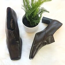 PAUL GREEN WOMENS 9 UK 6.5 Stitched LEATHER HANDMADE HEELS PUMPS SLIP ON