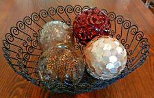 "13"" Black Metal Wire Basket Centerpiece With 4 Large Decorative Balls EUC"