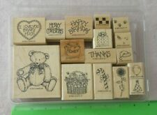 Stampin' Up 1995 Set of 16 Wood Mounted Rubber Stamps in Case Button Bear