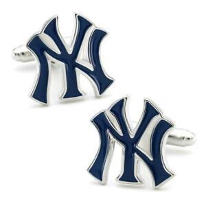 NEW YORK YANKEES CUFFLINKS Baseball Team Fan Blue Enamel NY Logo NEW w GIFT BAG