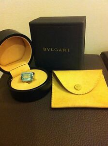 Stunning Bvlgari Blue Topaz and white gold Cocktail Ring size M