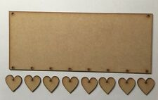 Wooden Plaque With 8 Hearts Laser Cut 3 Mm thick  Mdf Craft Blank