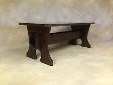 48 Inch Mission Keyhole Trestle Bench Solid Quartersawn White Oak Free Shipping
