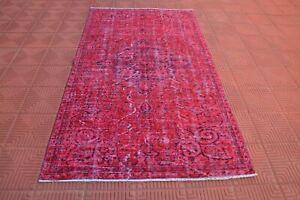 Overdyed Turkish Red Oushak Vintage Oriental Rug, Berber Rug, Antique Rug, Tapis